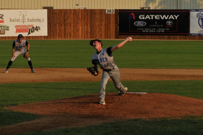 Reece Arbogast of Renner Post 307 in an Aug. 2 game against Pierre Post 8