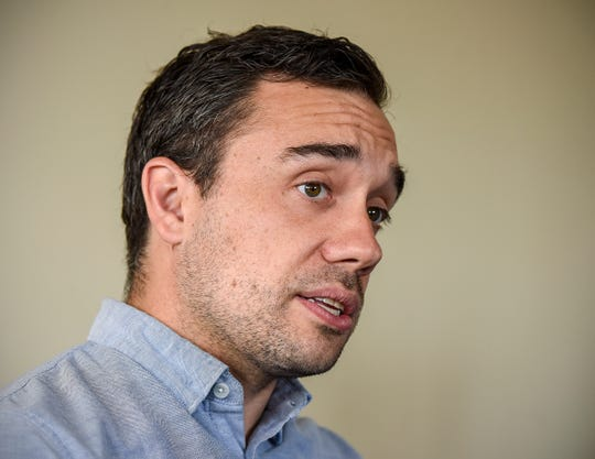 Attorney general candidate Matt Pelikan talks about his campaign Friday, Aug. 3, at the DFL office in St. Cloud.