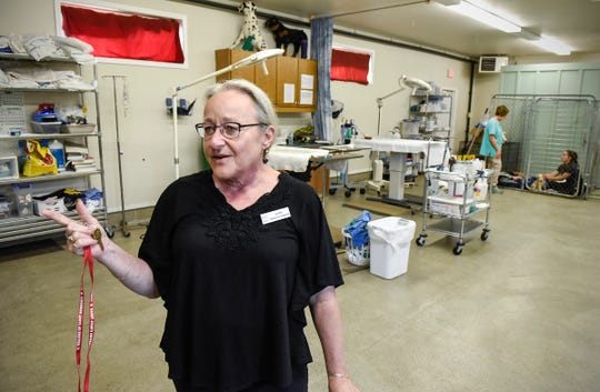 Vicki Davis, director of the Tri-County Humane Society, shows the surgical area located in a separate building Friday, Aug. 3, at the shelter in St. Cloud.