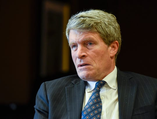 Senate candidate Richard Painter talks about his campaign Friday, Aug. 3, during a visit to St. Benedict's Senior Community in St. Cloud.