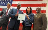 150 residents as new U.S. citizens from 43 different countries during naturalization ceremony at Rockland County Fire Training Center in Pomona Aug. 3, 2018.