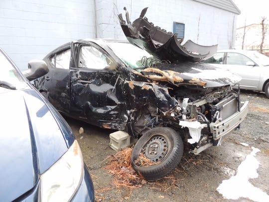 Joseph Neuberger's car following the October crash.