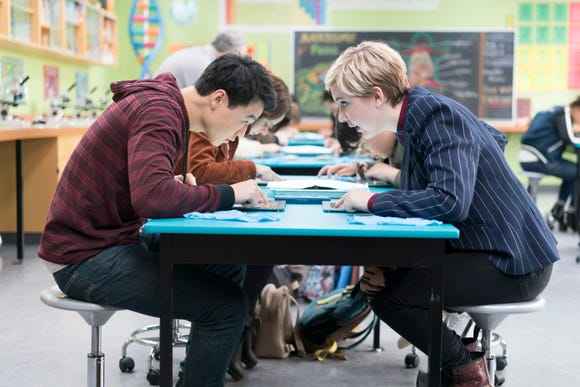 "Cozi Zuehlsdorff sits with Ricky He in a scene in the Disney Channel Original Movie ""Freaky Friday,"" premiering Friday, Aug. 10 on Disney Channel."