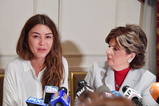 Gloria Allred (R) holds a press conference with Mimi Haleyi, an accuser of Harvey Weinstein, in New York on Oct. 24, 2017.