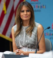 "First Lady Melania Trump during a visit to Monroe Carell Jr. Children's Hospital at Vanderbilt in Nashville, Tennessee, July 24, 2018, as part of her ""Be Best"" campaign."