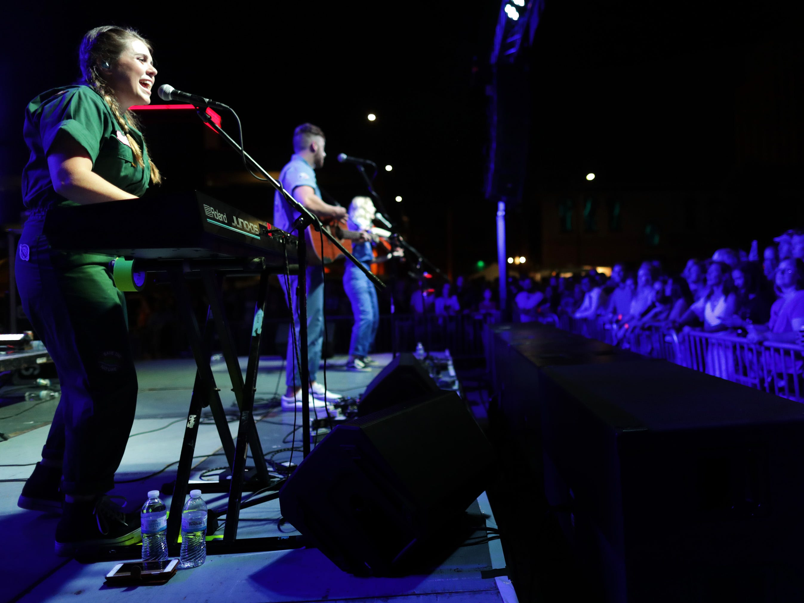 The National Parks perform at Houdini Plaza during the Mile of Music festival Friday, August 3, 2018, in Appleton, Wis. 