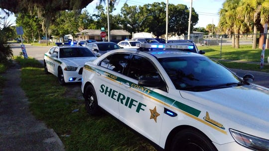 The scene of a shooting Saturday in Titusville, where one male was airlifted with life-threatening injuries.