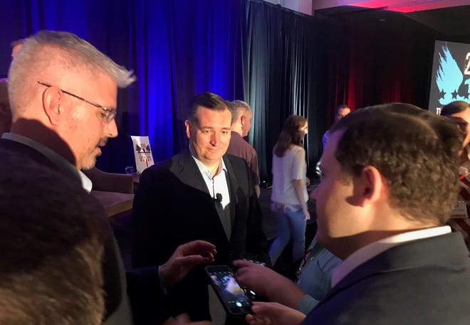 Ted Cruz speaks with supporters at a conservative gathering in Austin on Aug. 4, 2018.