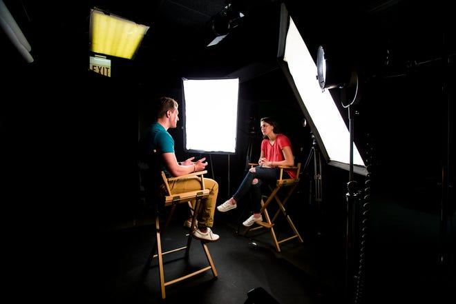 Higher education reporter Kate Murphy interviews Austin Worrell at the Cincinnati Enquirer studios.