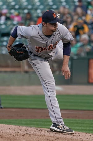 Detroit Tigers' Blaine Hardy pitches against the Oakland Athletics during the first inning at the Oakland Coliseum, Aug 3, 2018.