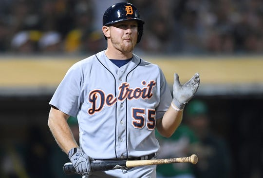 Detroit Tigers' John Hicks reacts after striking out against the Oakland Athletics in the ninth inning at Oakland Alameda Coliseum on Aug. 3, 2018.