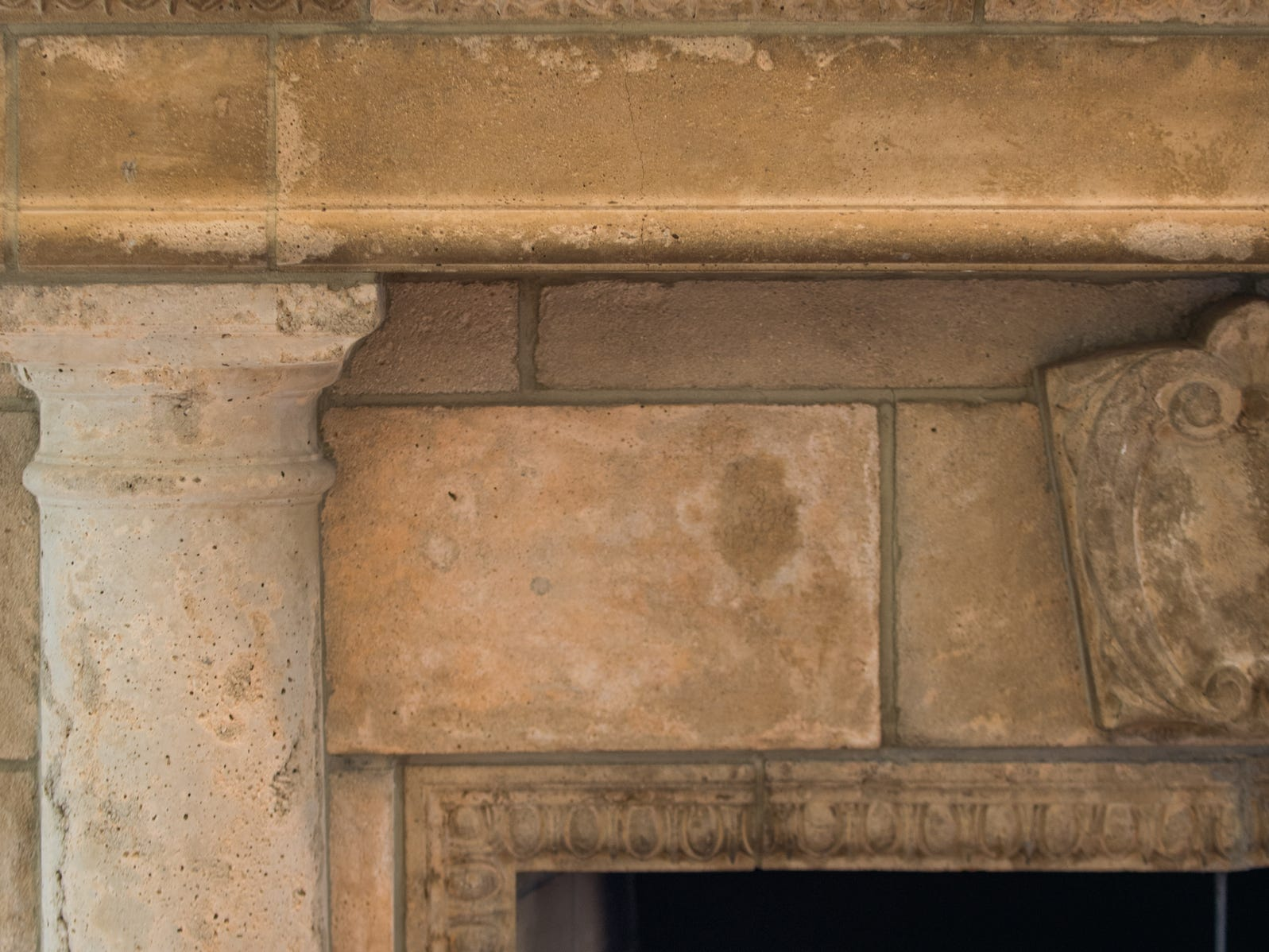 The massive stone fireplace in the family room was assembled from 18th Century pieces shipped from Europe.