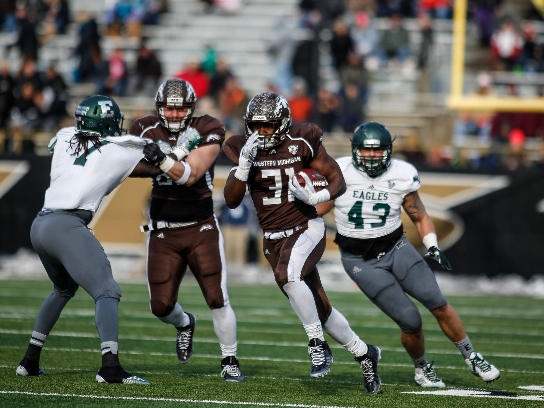 8. Eastern Michigan at Western Michigan. When: Oct. 6. Where: Kalamazoo. The buzz: The Broncos topped the Eagles, 20-17 in overtime, last season. EMU hasn't beaten WMU since 2013, and hasn't won the Michigan MAC trophy since 2012.