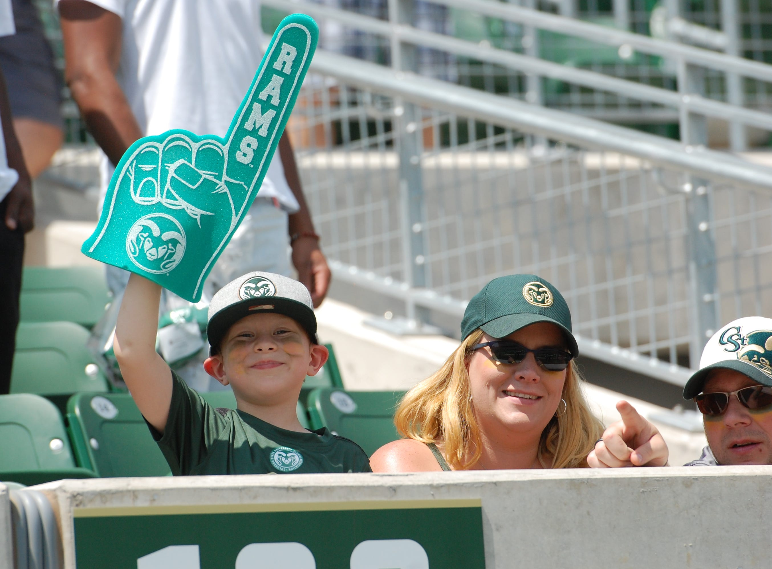 A young CSU fan shows his love for the Rams.