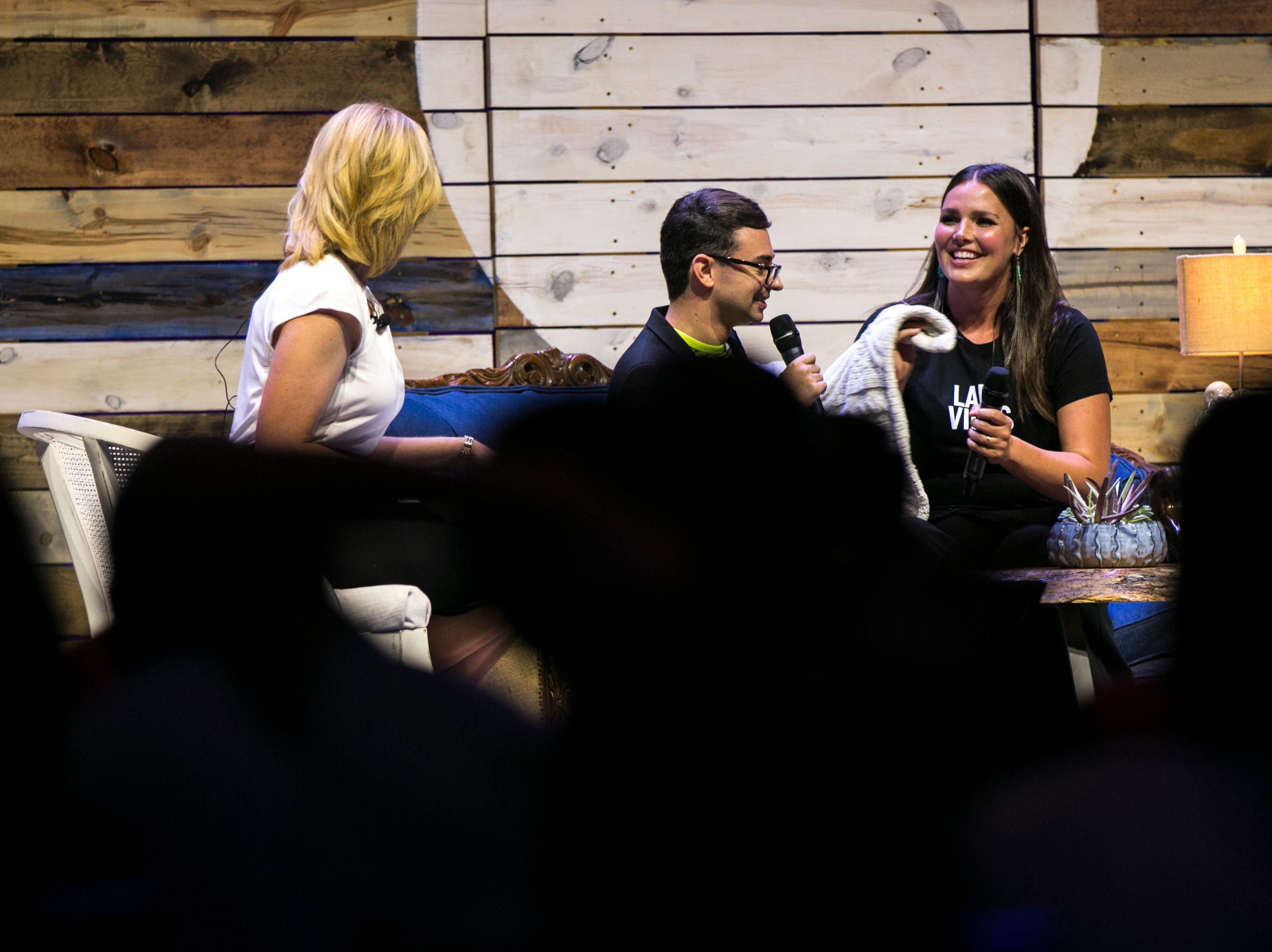 "Christian Siriano jokes with Candice Huffine during ""Newbo Evolve"" on Friday, Aug. 3, 2018, at the Cedar Rapids Convention Complex in Cedar Rapids, Iowa."