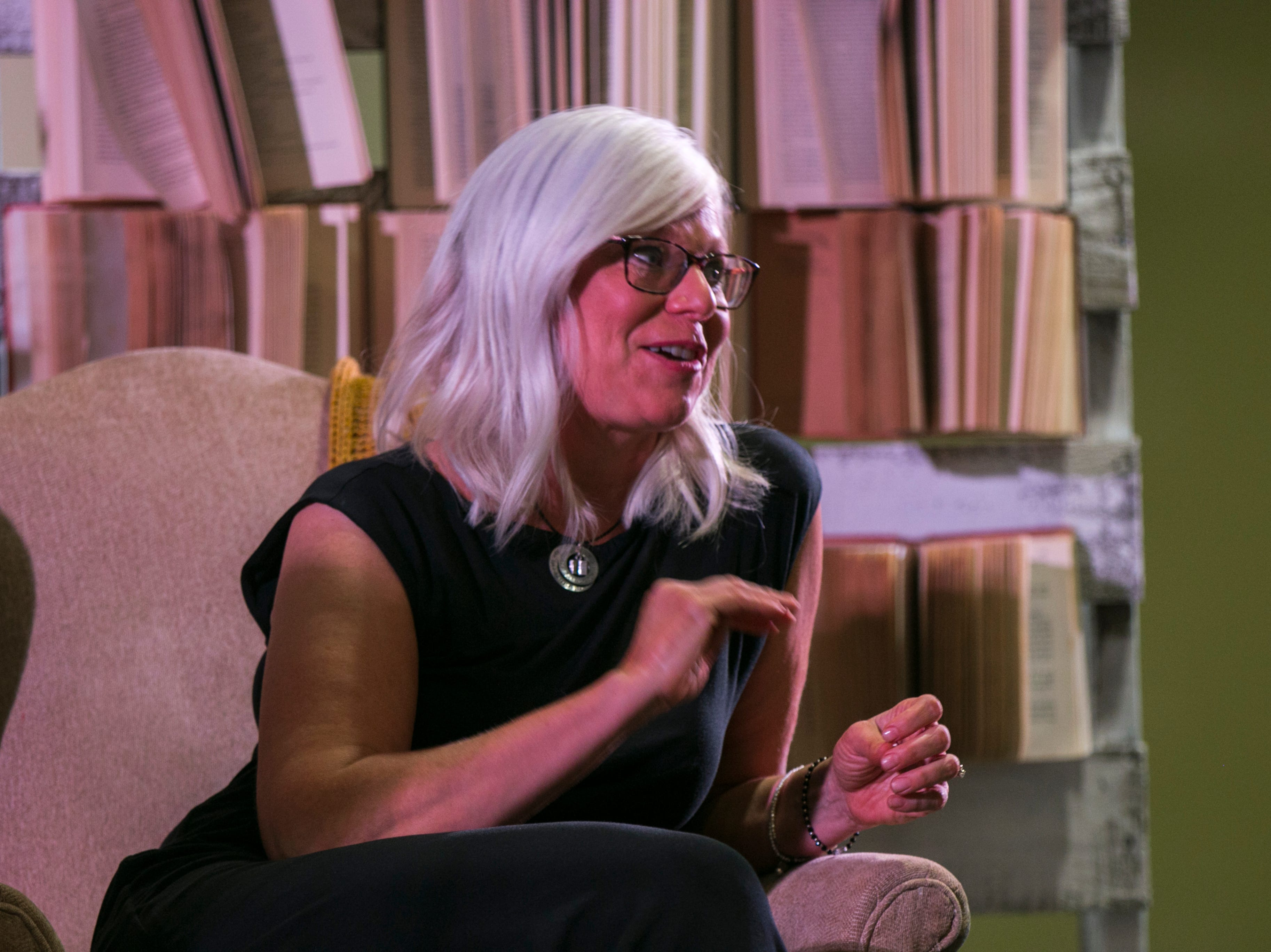 """Novelist Heather Gudenkauf speaks during """"Newbo Evolve"""" on Friday, Aug. 3, 2018, at the Cedar Rapids Convention Complex in Cedar Rapids, Iowa."""