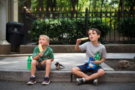 From left, brothers Chase Stryk, 5, and Eli, 8, eat their Artistic Pops at the farmers market in downtown Knoxville on Saturday, Aug. 4, 2018. Artistic Pops are gluten-free, nut-free and dairy-free popsicles.