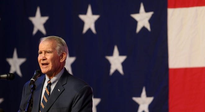 Lt. Colonel Oliver North, the next president of the NRA, speaks at the Night Before Fancy Farm event at Murray State University. 
