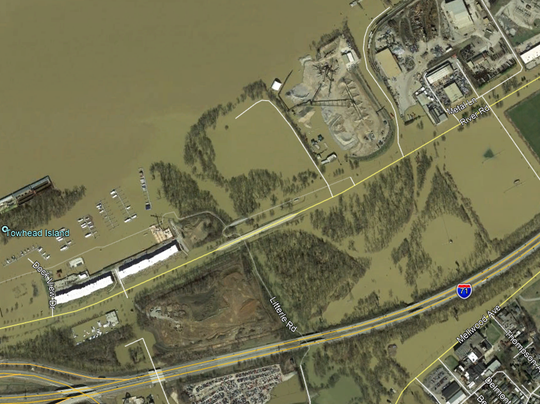 Google's satellite captured the River Road area during flooding in late February in Louisville.