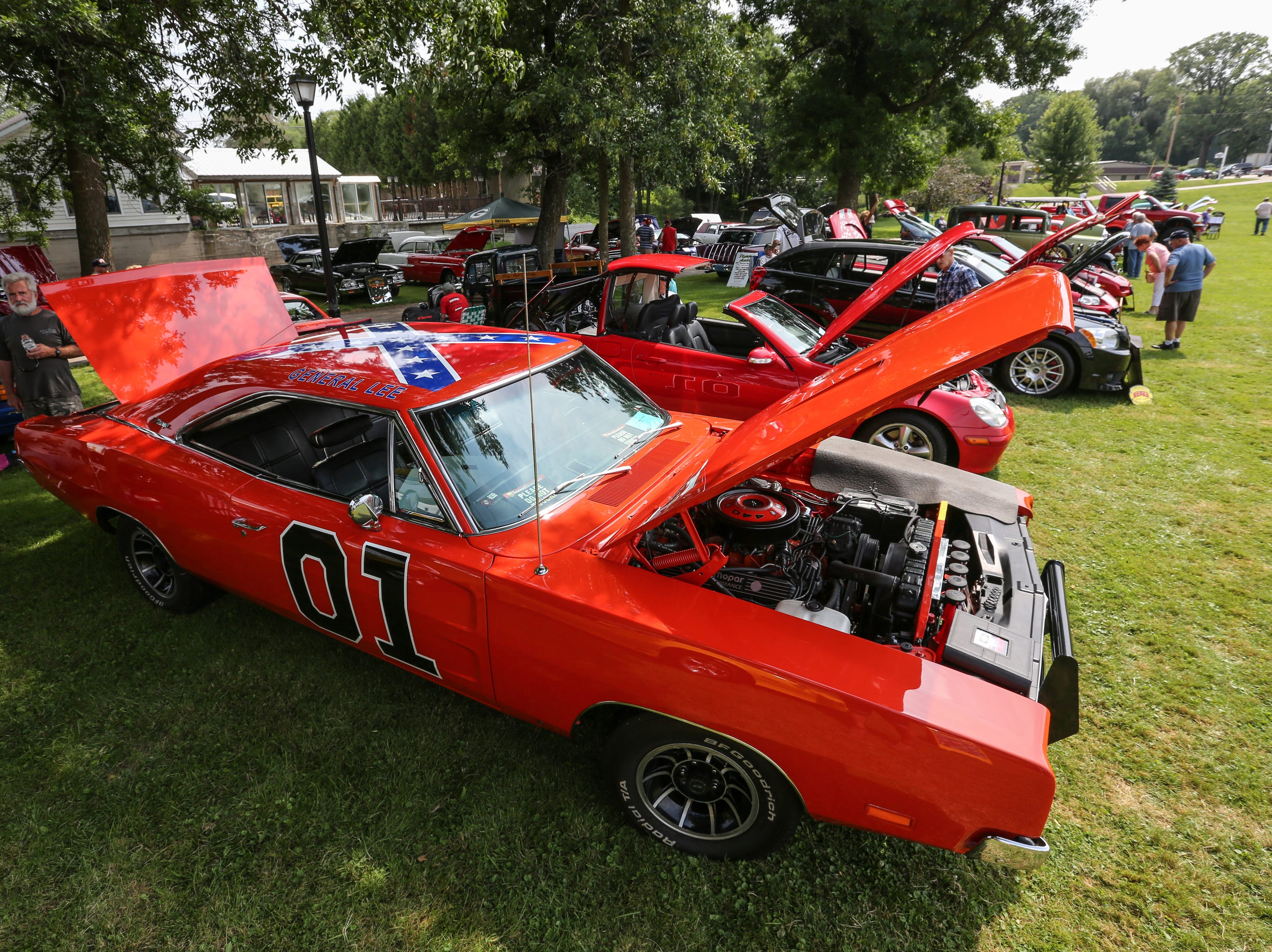 A Dodge Charger painted to look like General Lee from Dukes of Hazard sits on display at the car show during Mishicot Riverfest Saturday, August 4, 2018, in Mishicot, Wis. Josh Clark/USA TODAY NETWORK-Wisconsin