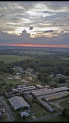 A drone view of the Plymouth Locomotive foundry which sits in the center of the village.