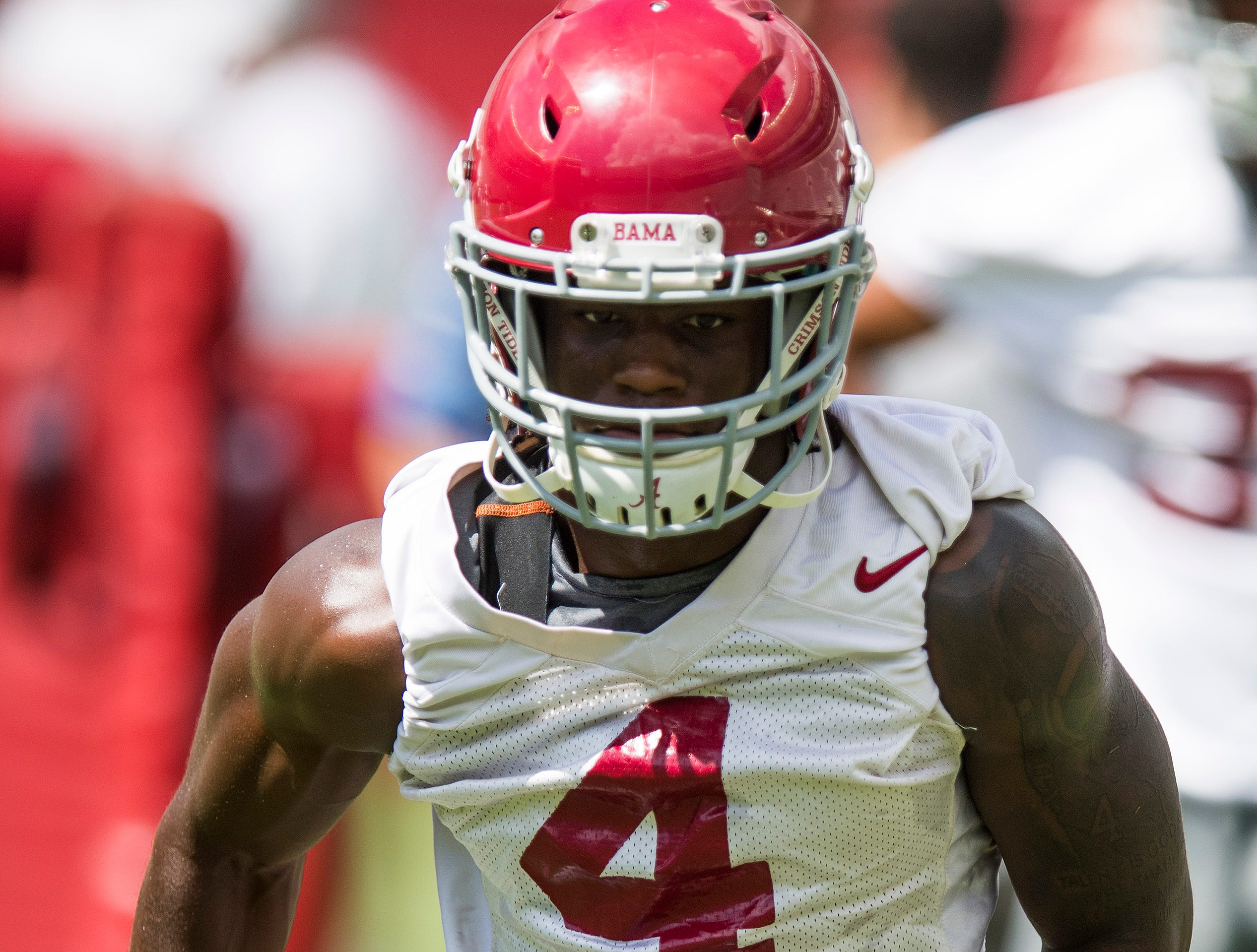 Receiver Jerry Jeudy runs drills as the University of Alabama football team holds practice in Bryant-Denny Stadium on the Alabama campus in Tuscaloosa, Ala. on Saturday August 4, 2018.