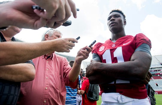 University of Alabama receiver Henry Ruggs talks with the media before fan day on the Alabama campus in Tuscaloosa, Ala. on Saturday August 4, 2018.