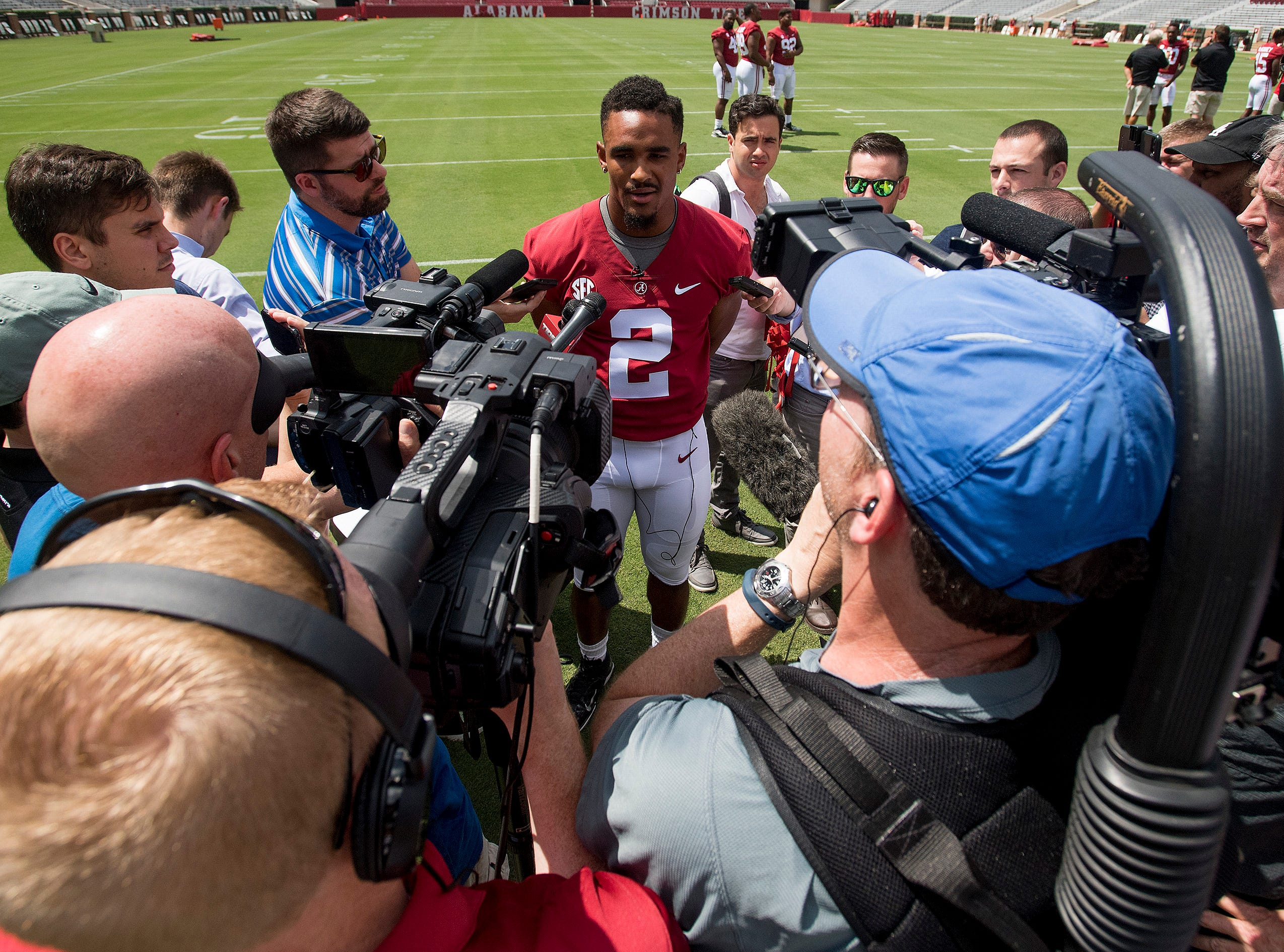 University of Alabama quarterback Jalen Hurts talks with the media before fan day on the Alabama campus in Tuscaloosa, Ala. on Saturday August 4, 2018. (Mickey Welsh / Advertiser)
