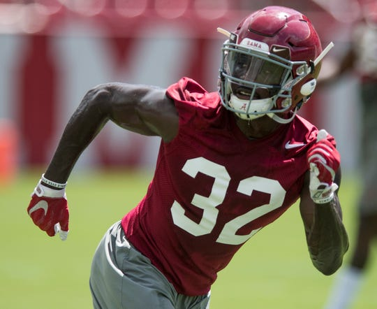 Linebacker Dylan Moses runs drills as the University of Alabama football team holds practice in Bryant-Denny Stadium on the Alabama campus in Tuscaloosa, Ala. on Saturday August 4, 2018.