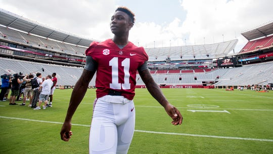 University of Alabama reciever Henry Ruggs at Bryant Denny Stadium on the Alabama campus in Tuscaloosa, Ala. on Saturday August 4, 2018.