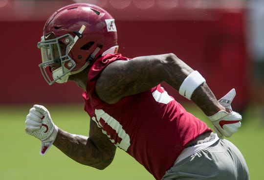 Linebacker Mack Wilson runs drills as the University of Alabama football team holds practice in Bryant-Denny Stadium on the Alabama campus in Tuscaloosa, Ala. on Saturday August 4, 2018.