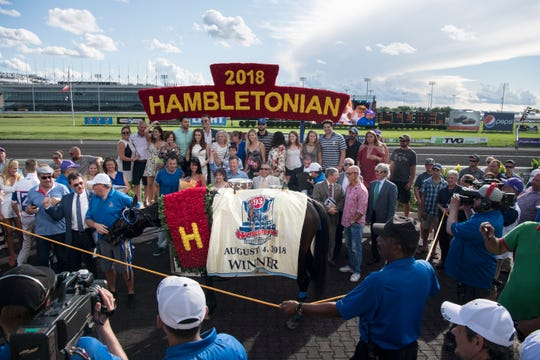 Hambletonian Day at the Meadowlands on Saturday, August 4, 2018. Celebration after Atlanta won the Hambeltonian Final.