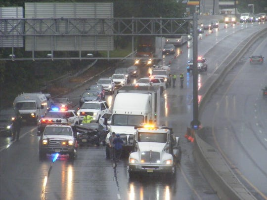 Standing water on the roadway caused an accident onRoute 17 South in Ridgewood involving four cars and a tractor-trailer on Saturday, Aug. 4, 2018.