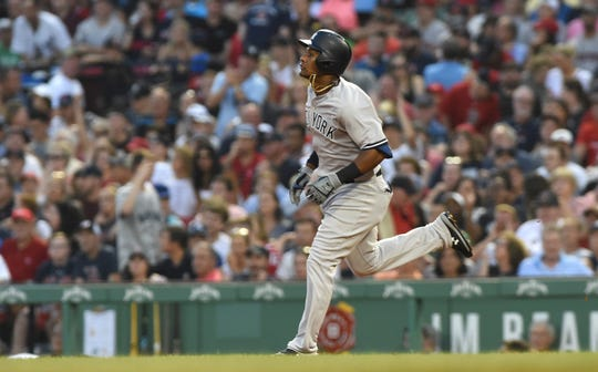 Aug 3, 2018; Boston, MA, USA; New York Yankees designated hitter Miguel Andujar (41) rounds the bases after hitting a home run during the third inning against the Boston Red Sox at Fenway Park.