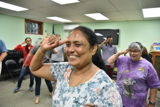 Jyotsna Sheih does a Laughter Yoga exercise at a class in East Rutherford, NJ.