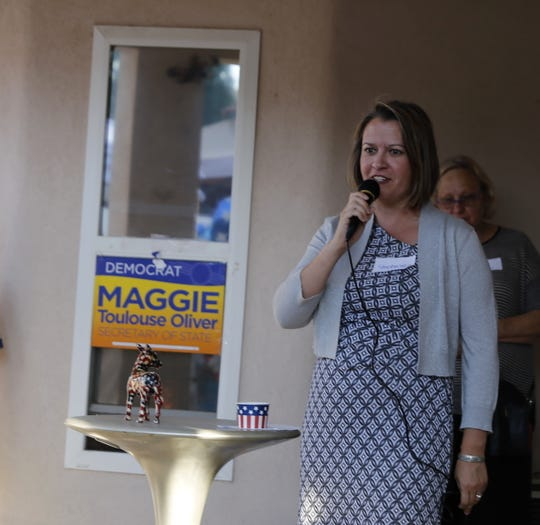 Stephanie Garcia Richard, the Democratic Party candidate for state land commissioner, speaks Friday during a campaign stop in Farmington.