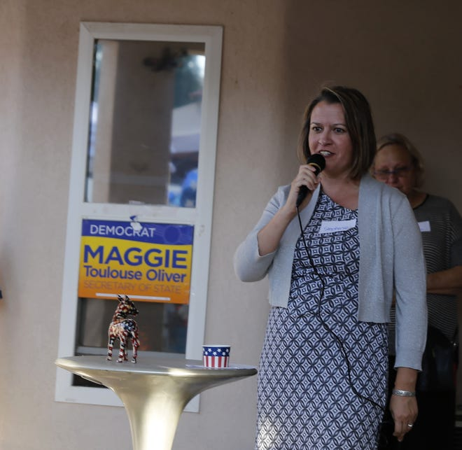 In this file photo, Stephanie Garcia Richard, the Democratic Party candidate for state land commissioner, speaks, Friday, Aug. 3, 2018, at an event in Farmington.