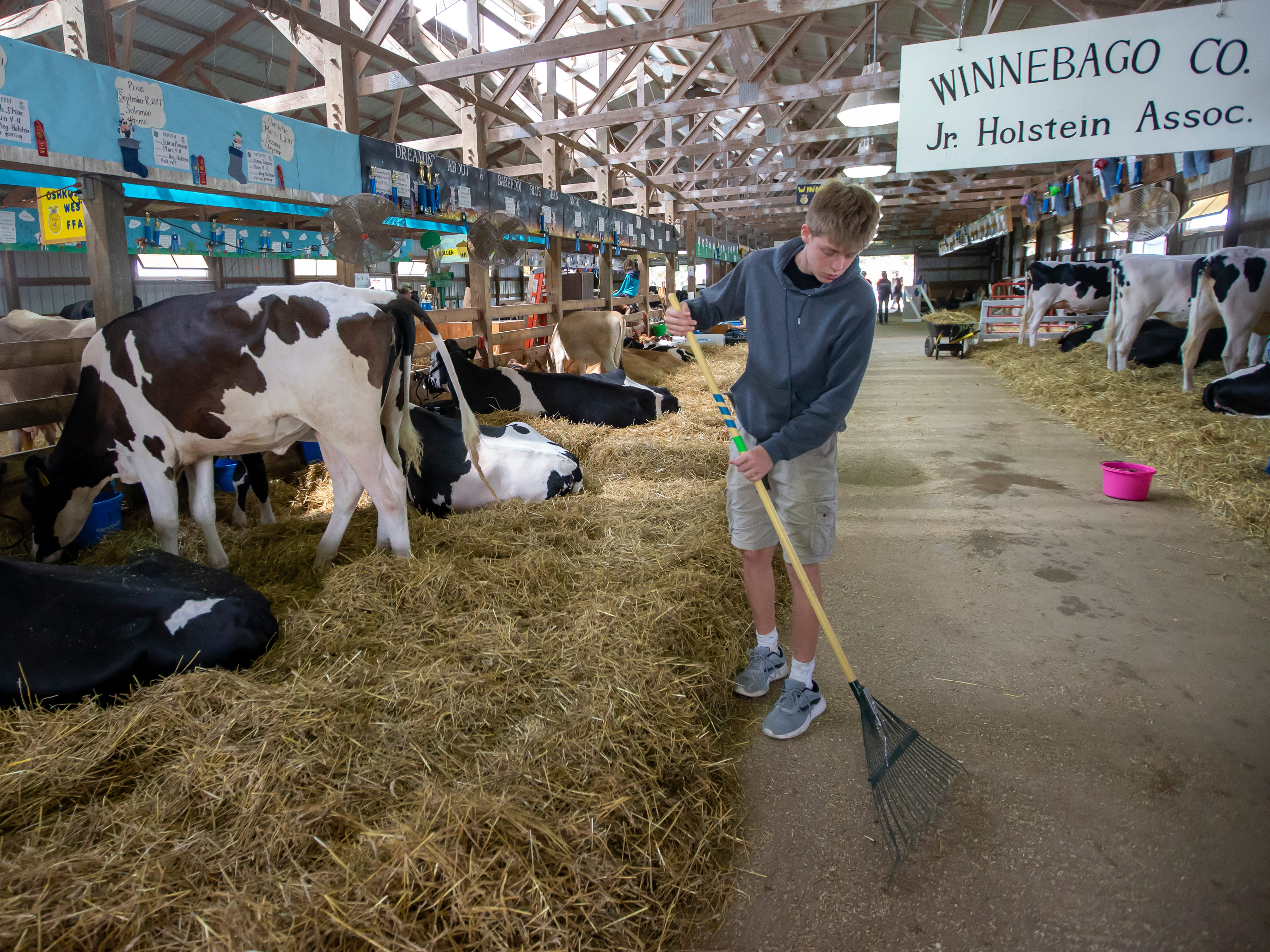 Josh Stone of Winneconne rakes clean the walk way in the barn during the Winnebago County Fair on Friday, Aug. 3, 2018.