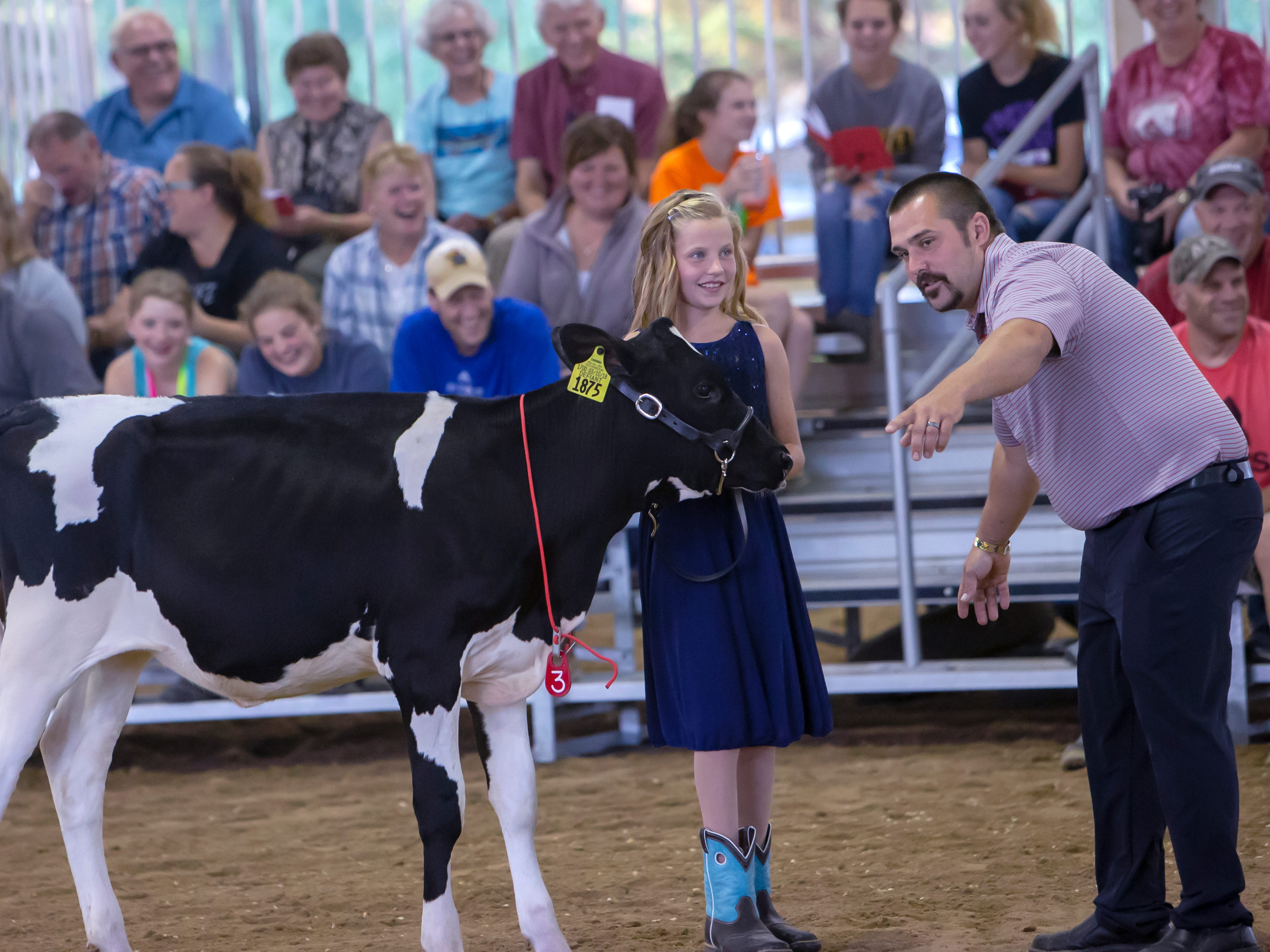 Kids show their cows in the Futurity Dairy Show during the Winnebago County Fair on Friday, Aug. 3, 2018.