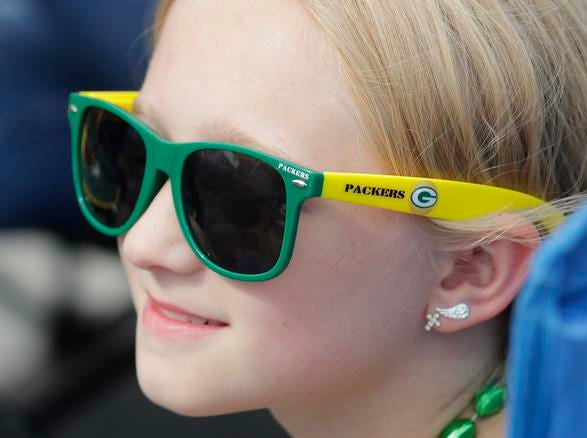 Bella Markey sports her Packers shades during Green Bay Packers Family Night  Saturday, August 4, 2018 at Lambeau Field in Green Bay, Wis.