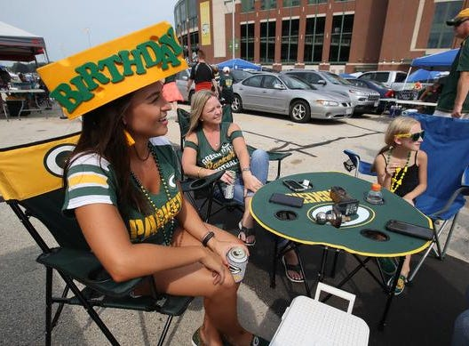 Heather Hembrough celebrates her birthday tailgating and attending the Green Bay Packers Family Night  Saturday, August 4, 2018 at Lambeau Field in Green Bay, Wis.