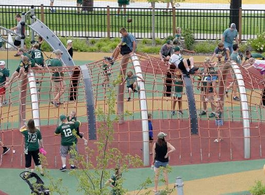 The Titletown playgrounds were packed and busy during Green Bay Packers Family Night Saturday, August 4, 2018 at Lambeau Field in Green Bay, Wis.