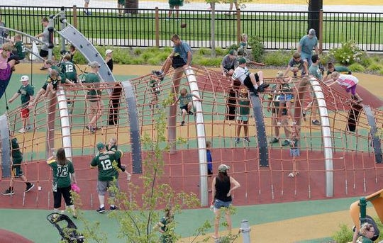 The Titletown District playgrounds were busy during Family Night on Aug. 4.