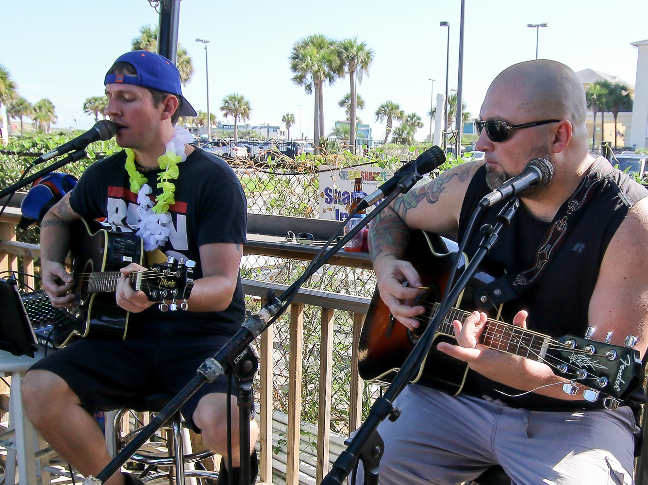 Schofield Duo performs during the Bushwacker Festival at the Sandshaker Lounge on Pensacola Beach on Saturday, August 4, 2018.