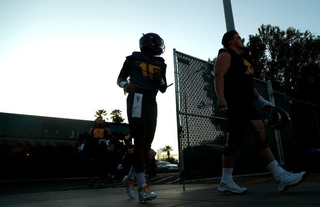 ASU's Dillon Sterling-Cole (15) takes the field during practice at Kajikawa Practice Fields in Tempe, Ariz. on Aug. 3, 2018.