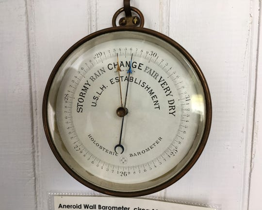 Aneroid Wall Barometer, circa 1880s, was used by lighthouse keepers to predict the weather.