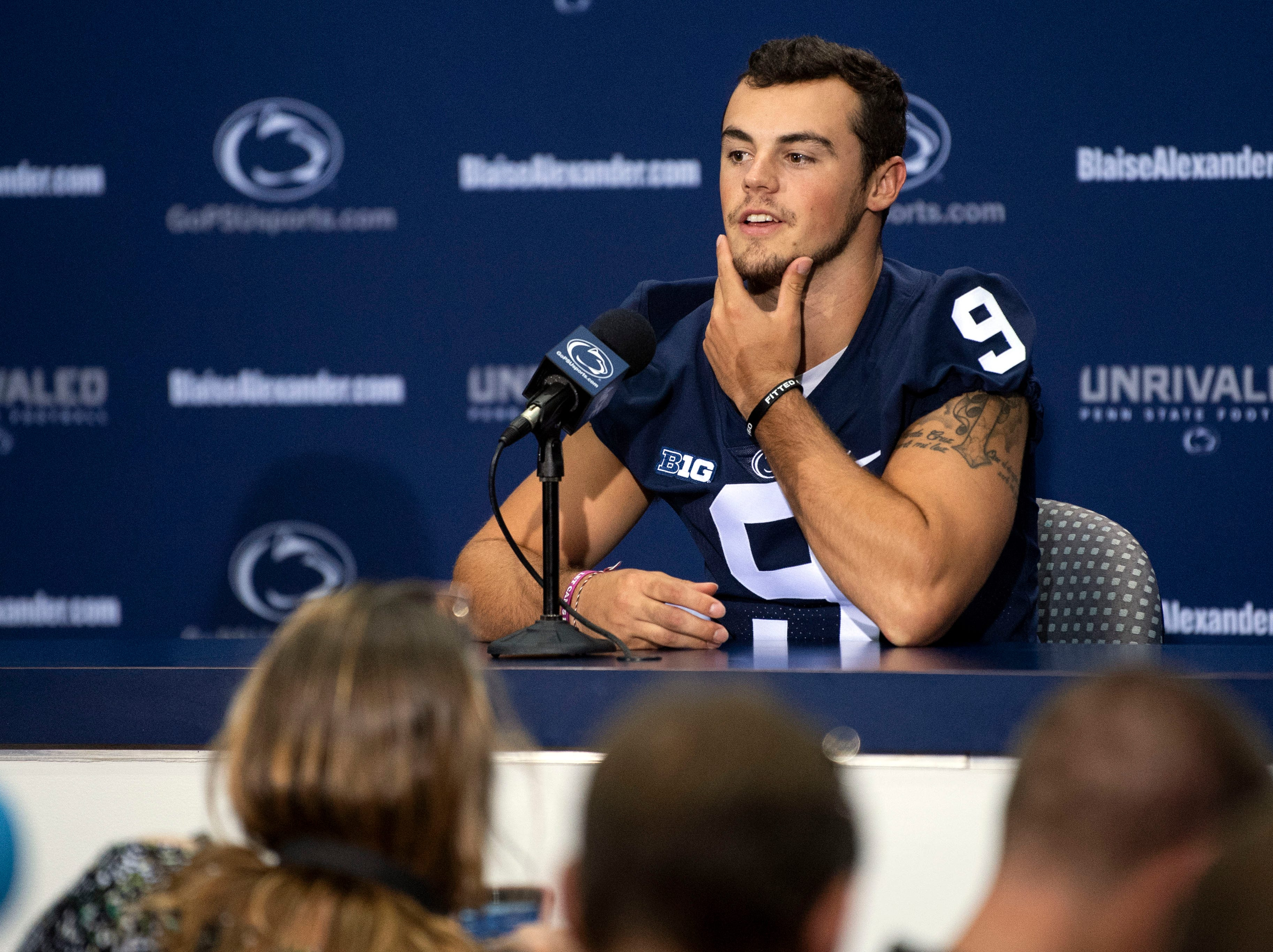 Penn State starting quarterback Trace McSorley jokes about his facial hair during media day at Beaver Stadium on Saturday, August 4, 2018.