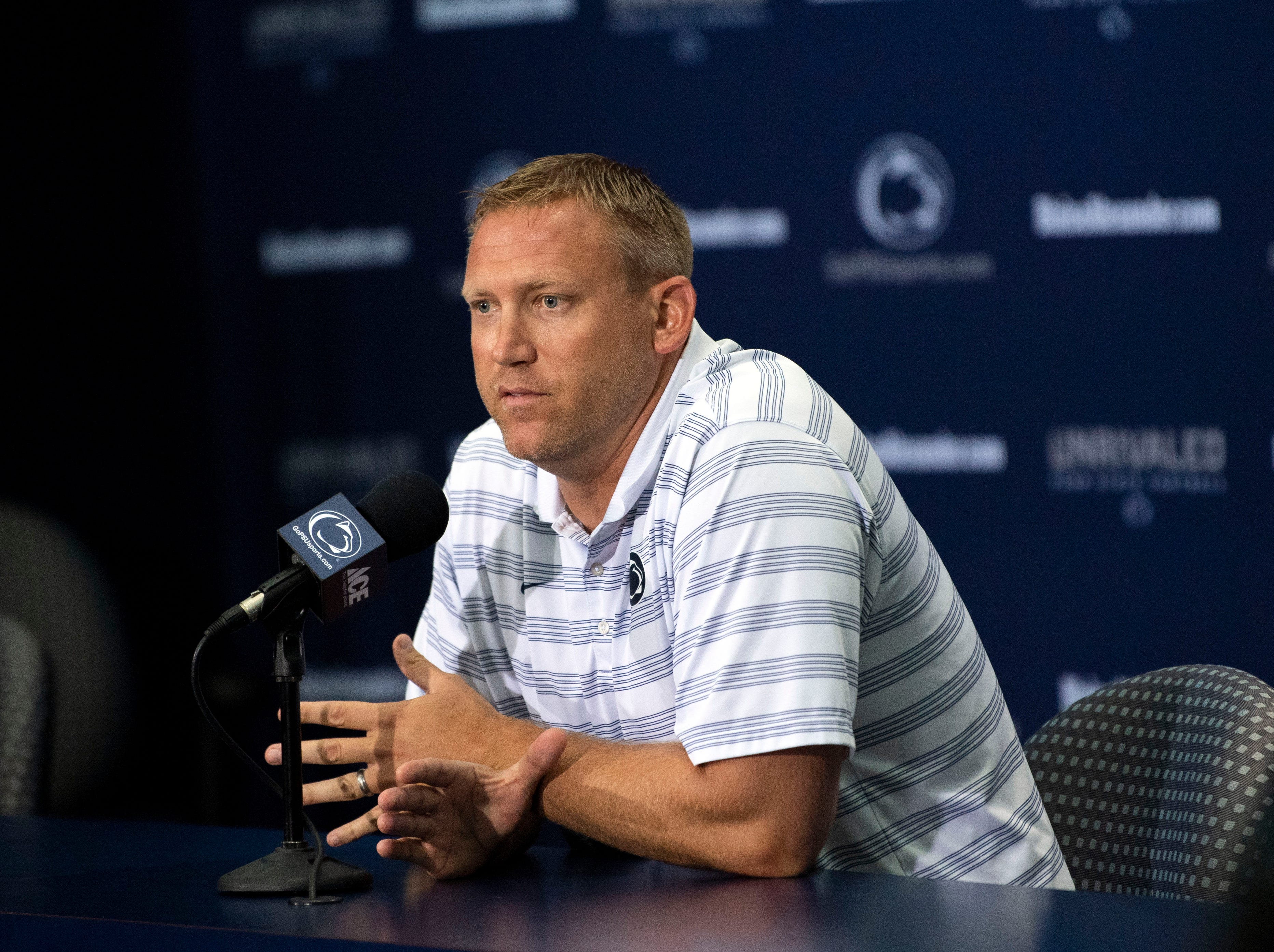 Penn State offensive coordinator and quarterbacks coach Ricky Rahne answers questions about the upcoming season during media day at Beaver Stadium on Saturday, August 4, 2018.