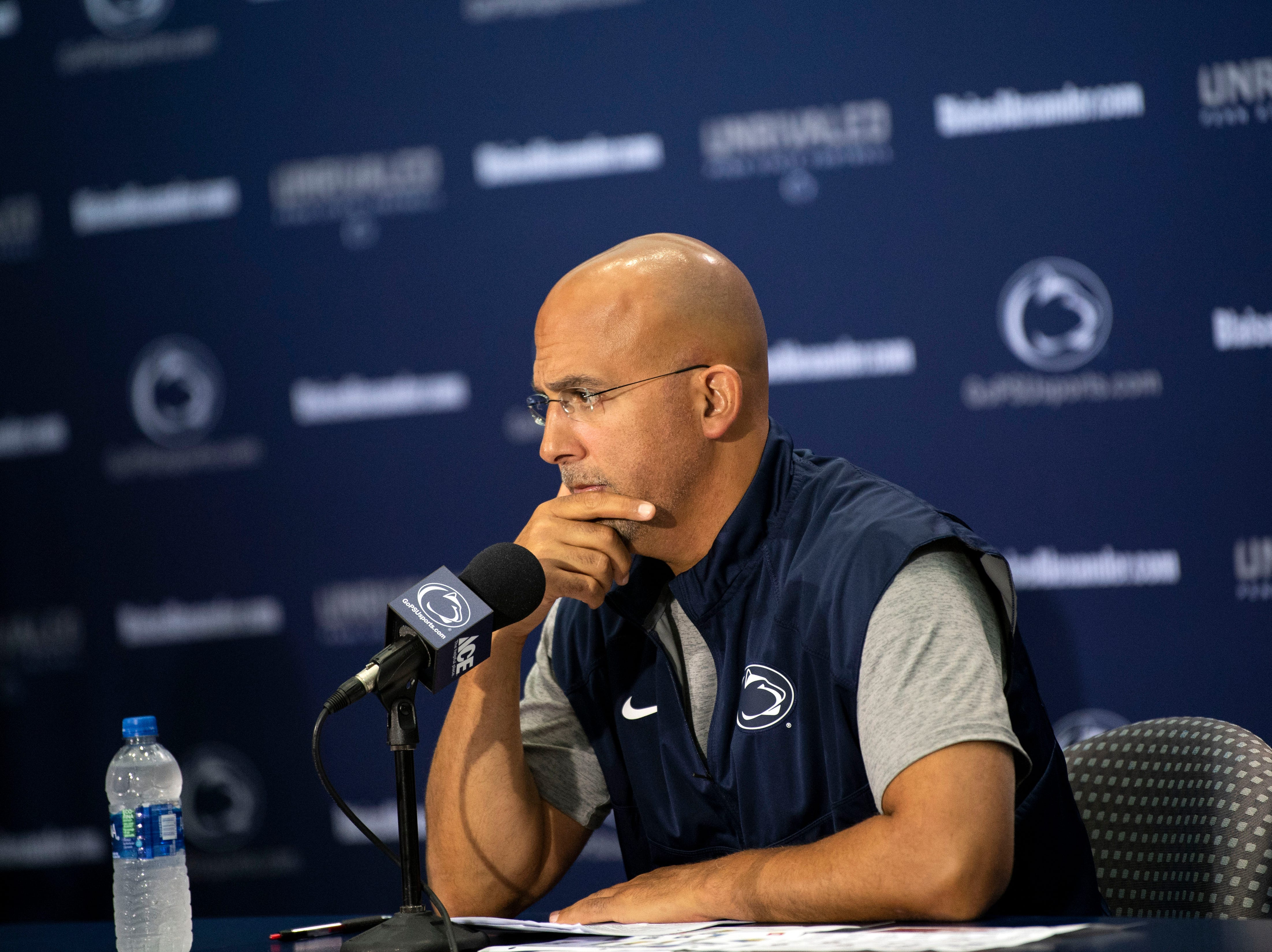 Penn State head coach James Franklin speaks to members media during media day at Beaver Stadium on Saturday, August 4, 2018.
