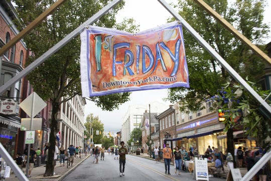 Every Friday of every month  Downtown Inc. in York Pa. organizes First Friday. It is a celebration of downtown shops, restaurants, cultural venues, and nightlife hotspots. The hours of the event are from 5 to 9 p.m., downtown shops and restaurants host special events, offer refreshments and promotions while they sponsor live entertainment to the public.